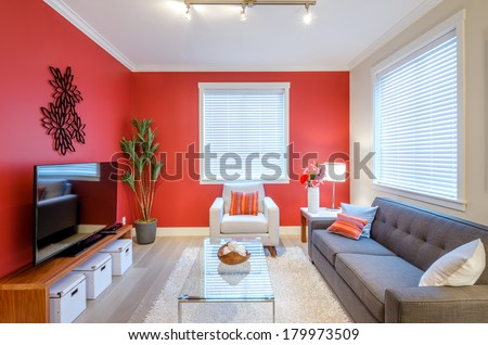 Modern Red Living Room Interior Design Stock Photo 179973509