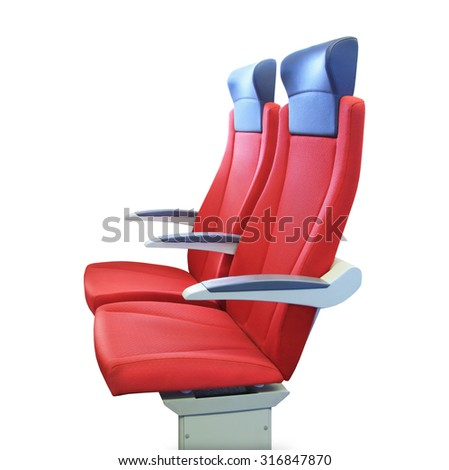 Modern red passenger chair isolated over white - stock photo