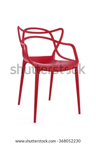 Modern Red Plastic Chair on White Background, Three Quarter View