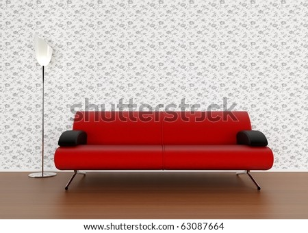 Modern red sofa and lamp