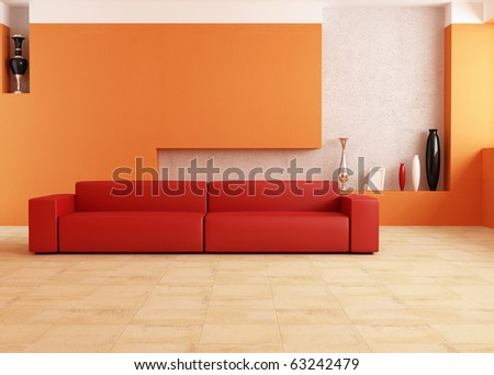 modern red sofa in a orange living room - stock photo