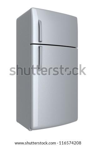 Modern refrigerator - isolated on white background - stock photo