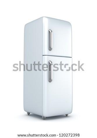Modern refrigerator over white background - stock photo