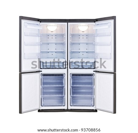 modern refrigerator with open doors isolated on white background - stock photo