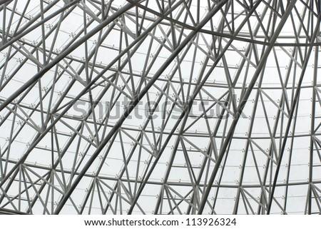Modern reinforced steel glass roof - stock photo