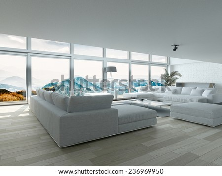 Modern Residence Living Room Design with Elegant Furniture and Ornaments near Glass Windows. 3D Rendering.  - stock photo