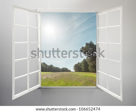 Modern residential window open and the sunny morning - stock photo