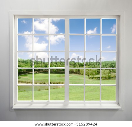 Modern residential window with lake view - stock photo