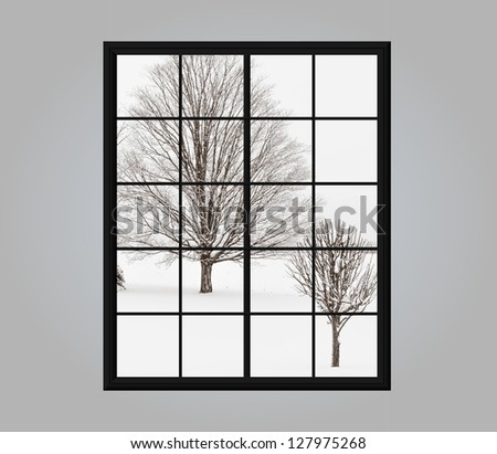 Modern residential window with snow covered winter view outside - stock photo