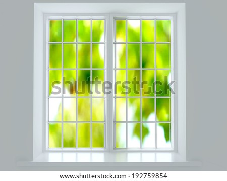 Modern residential window with trees behind. - stock photo