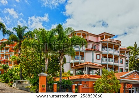 Modern resort hotel in Funchal, Madeira island, Portugal - stock photo