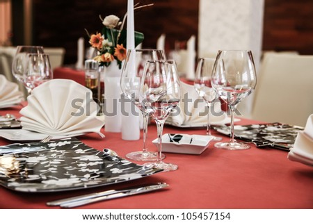 Modern restaurant dinner table - stock photo