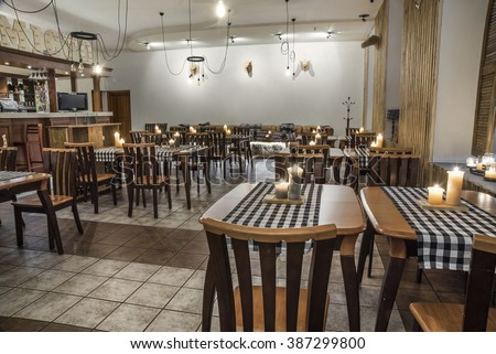 Modern restaurant  interior design in Kiev, Ukraine, january 31, 2016
