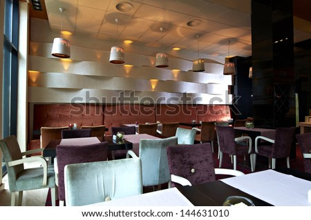 Modern restaurant interior, part of a hotel