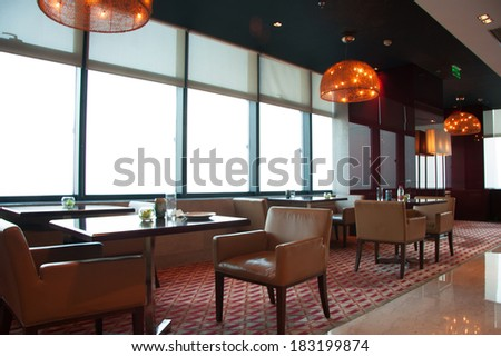 Modern restaurant interior  part of a hotel. Restaurant Furniture Stock Images  Royalty Free Images   Vectors
