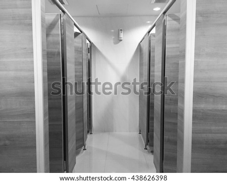 Modern restroom interior. Black and white color.