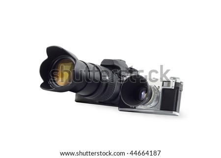 modern & retro photocamera isolated over white