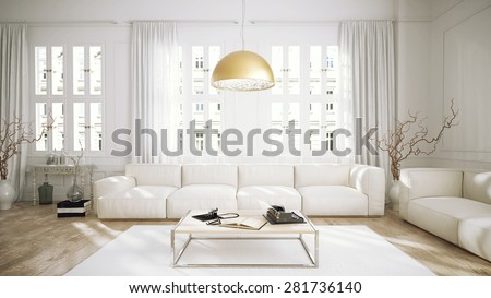 Modern retro style penthouse living room (3 d render using 3 d s Max) - stock photo