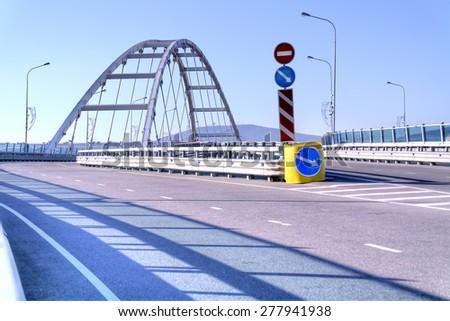 Modern road overpass, built in city Adler - stock photo