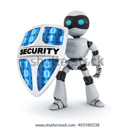 Modern robot and shield security (done in 3d)  - stock photo