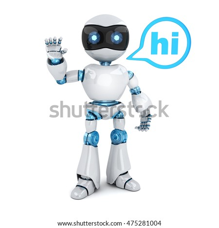 Modern robot and sign hi (done in 3d rendering)