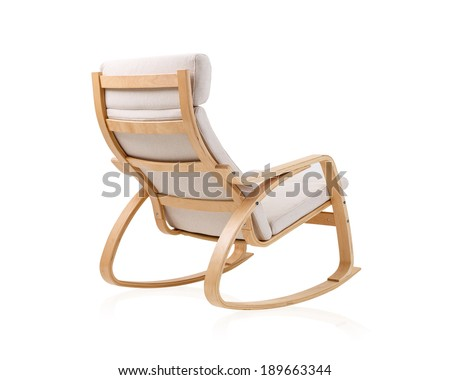 modern rocking chair on the back side isolated on white background - stock photo