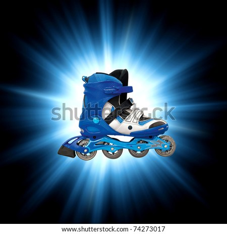 modern roller skates in blue color with clipping path - stock photo