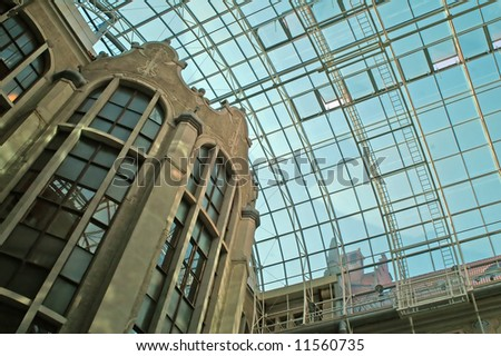 modern roof made of glass and steel - stock photo