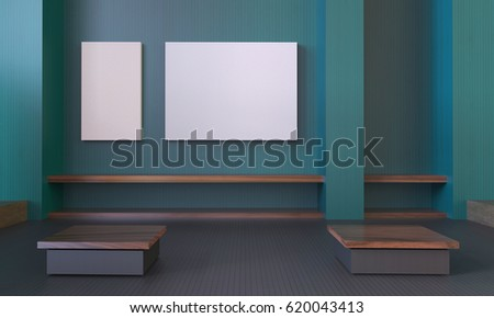 Modern Room Contemporary Green wall and Picture frame Indoors Empty Minimalist / 3d rendering