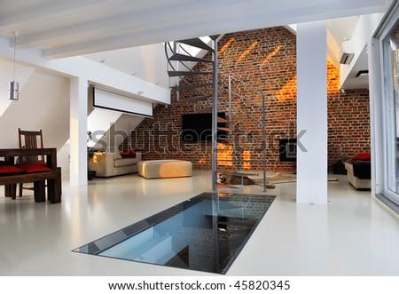modern room interior - stock photo