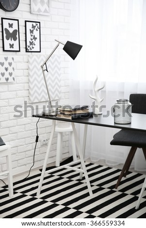 Modern room interior in black and white tones - stock photo