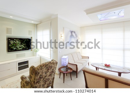 Modern room with plasma tv