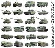 modern Russian armored military vehicles isolated on a white background. Set photos - stock photo