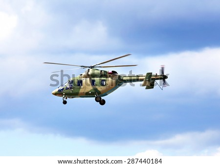 Modern russian military training helicopter in sky