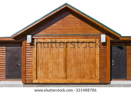Modern Rustic Style Wooden Shed With Steel Armed Doors Sunny Day Partially Isolated