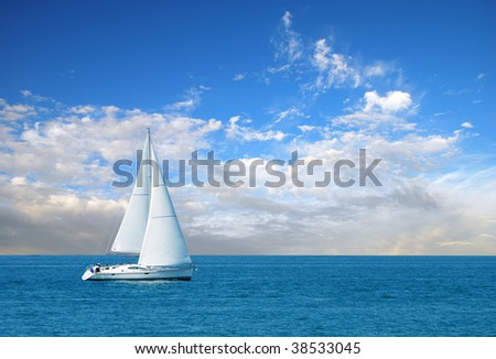 modern sail boat - stock photo