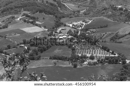 Modern San Marino Suburban districts and Italian hills view from above.   Black and white photography. - stock photo