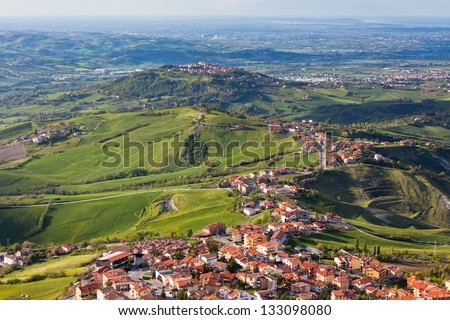 Modern San Marino Suburban districts and Italian hills view from above. Horizontal shot - stock photo