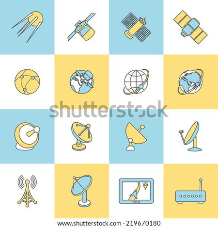 Modern satellite TV telephone internet connection digital technology flat line design dishes pictograms collection  isolated  illustration - stock photo