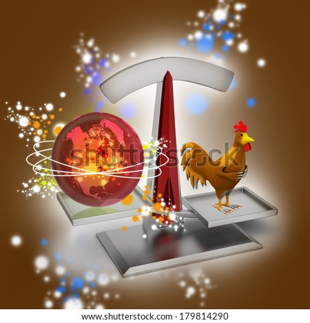 Modern scale balancing the earth and hen - stock photo