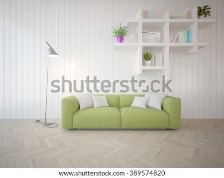 modern scandinavian design with wood wall - 3d illustration - stock photo