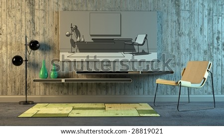 Modern Scandinavian interior with stylized look (3D render)
