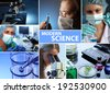 modern science collage  - stock photo