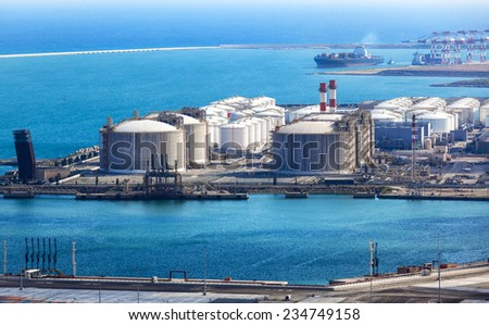modern sea port on a sunny day - stock photo