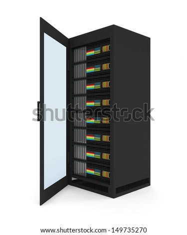 Modern Server Rack with opened door isolated on white background