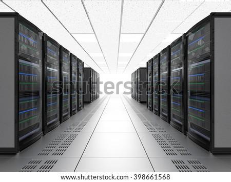 Modern server room interior. 3D rendering image. - stock photo