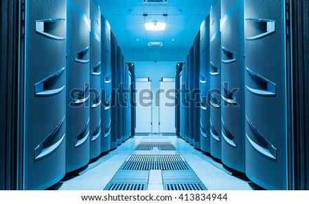 modern server room symmetry ranks supercomputers light - stock photo