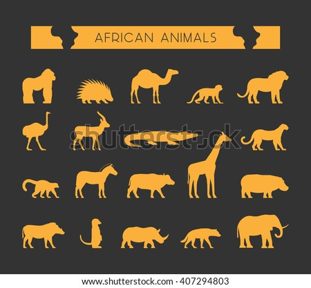 Modern set of silhouettes of African animals. Cool silhouette of lion, monkey and crocodile. Gold silhouette of a lemur, giraffe, hyena and elephant.