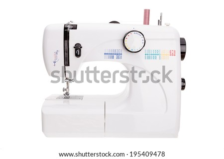Modern sewing machine for sewing textiles. On white background, close up. - stock photo