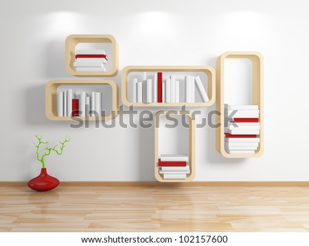 Modern shelf.3d rendered. - stock photo